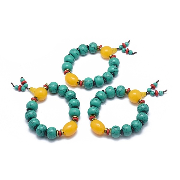 PandaHall Buddha Meditation Synthetic Turquoise Stretch Bracelets, with Natural Beeswax and Acrylic, Rondelle, 2-1/8inches(5.3cm) Synthetic...