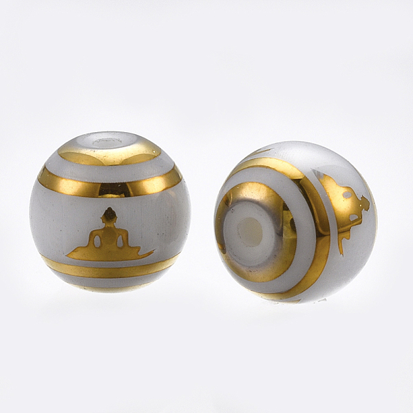 PandaHall Electroplate Glass Beads Strands, Chakra Style, Round with Sit in Meditation Pattern, Gold, 8mm, Hole: 1mm; 300pcs/bag Glass Round...