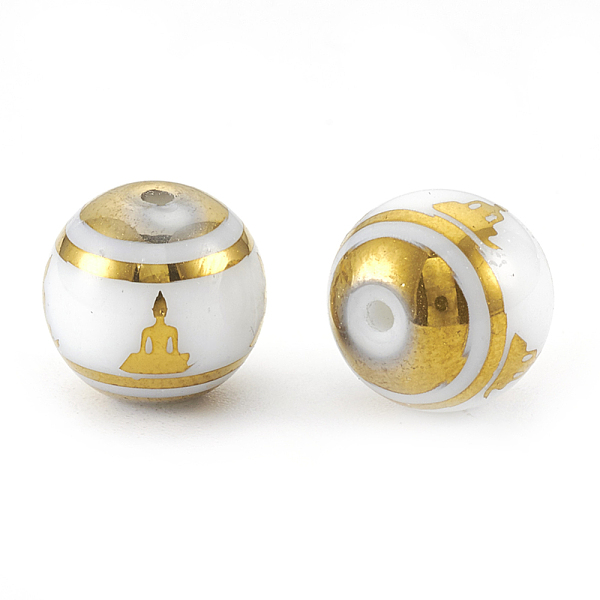 PandaHall Electroplate Glass Beads Strands, Chakra Style, Round with Sit in Meditation Pattern, Golden Plated, 10x9.5~10mm, Hole: 1.2mm;...