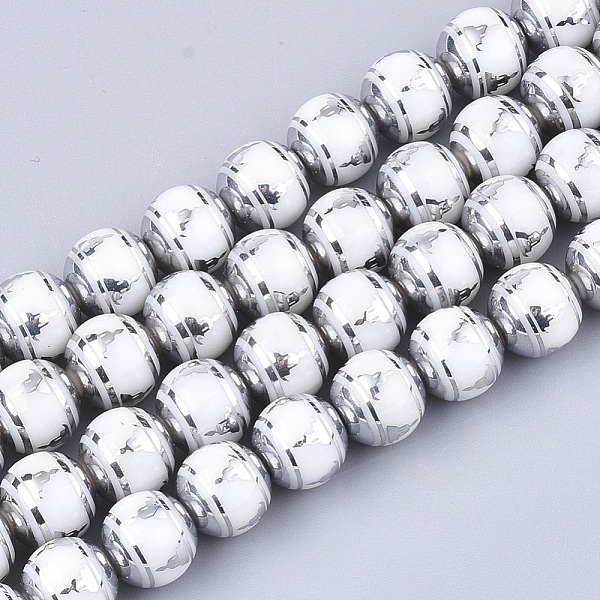 PandaHall Electroplate Glass Beads Strands, Chakra Style, Round with Sit in Meditation Pattern, Silver, 10x9.5mm, Hole: 1.2mm; about...