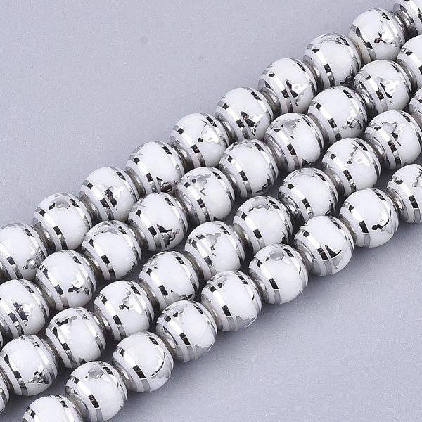 PandaHall Electroplate Glass Beads Strands, Chakra Style, Round with Sit in Meditation Pattern, Silver, 8x7.5mm, Hole: 1.2mm; about...