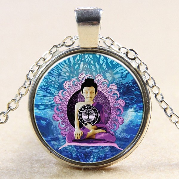 PandaHall Flat Round with Meditative Buddha Glass Alloy Pendant Necklaces, Silver Color Plated, 17.7inches Glass