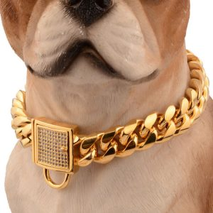 24'' Gold Stainless Steel Curb Chain Pet Dog Choker Collar Rottweiler Pit