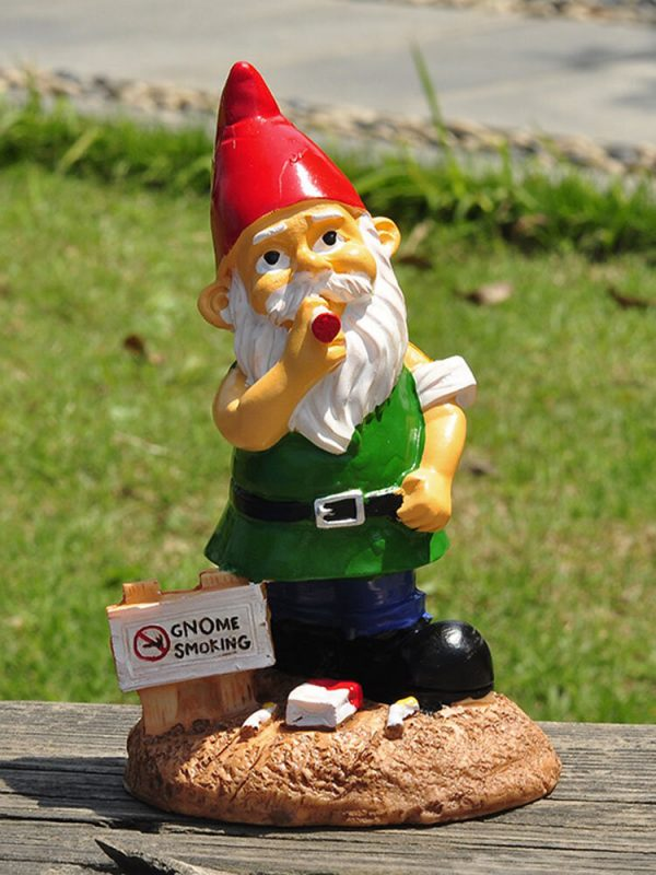 1PC Resin Gnome Smoking Meditation Dwarf White Beard Statues Lawn Decorations Indoor Outdoor Christmas Garden Ornament