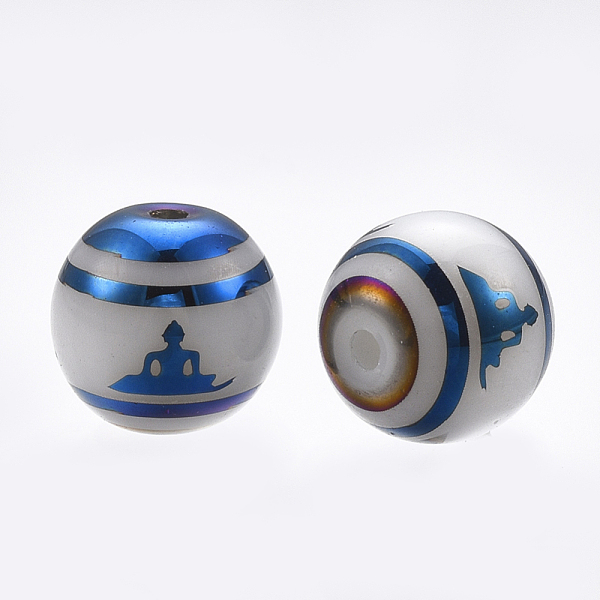 PandaHall Electroplate Glass Beads, Round with Sit in Meditation Pattern, Blue, 8mm, Hole: 1mm; 252pcs/box Glass Round Blue