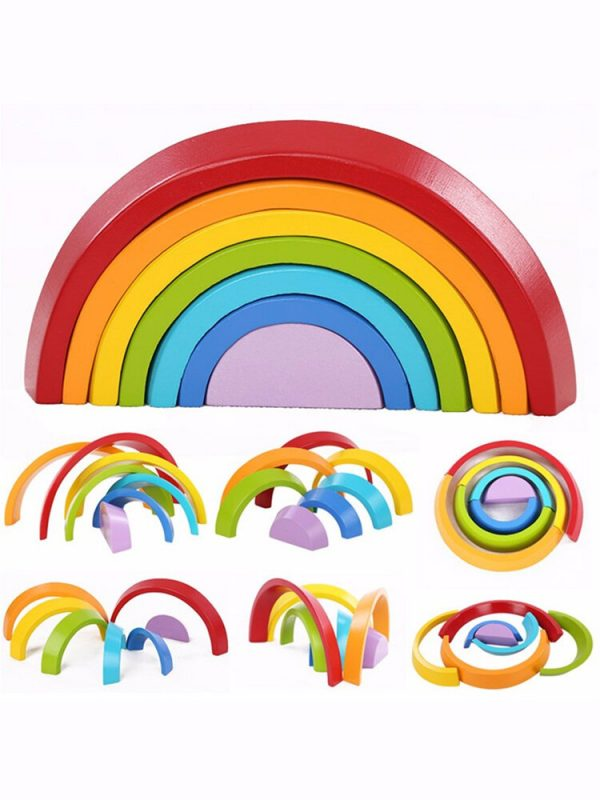 Wooden 7 Colour Stacking Rainbow Shape Kids Childrens